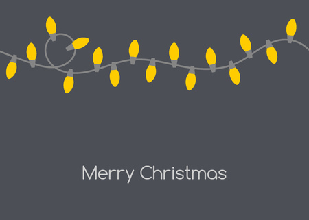 Christmas card with yellow lights shining in the dark. Vector illustration backgrgound.