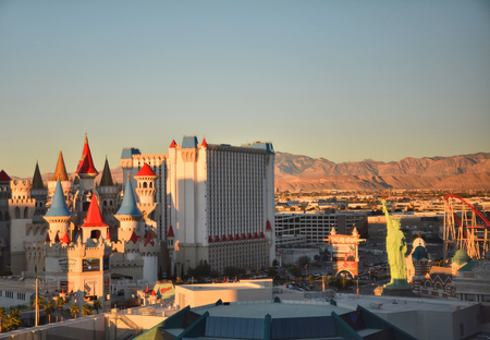 LAS VEGAS, USA - MARCH 18, 2018 : Excalibur Hotel & Casino and New York New York hotel on Las Vegas boulevard in sunset light.