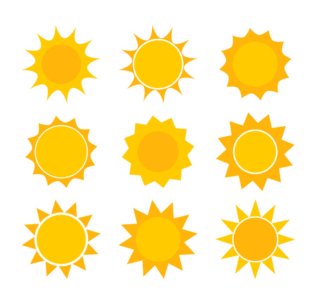 Sun icons. Vector design elements set.