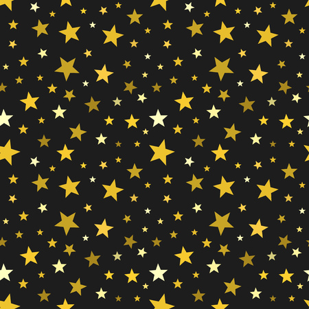 Gold stars on black background seamless pattern. Vector illustration.