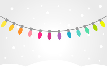 Christmas winter landscape with colorful lights strings. Vector background.