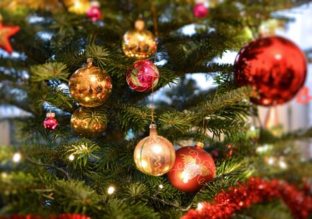 Evergreen fresh Christmas tree decorated with glass baubles ornaments.