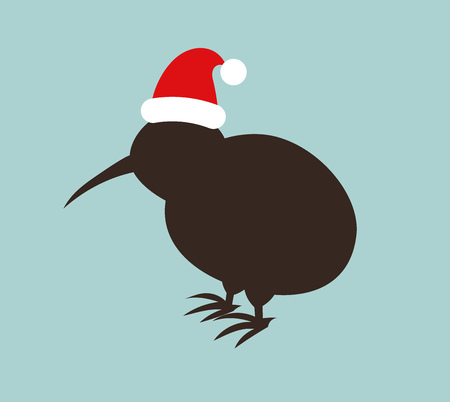 Kiwi bird in Santa hat. Christmas illustration.