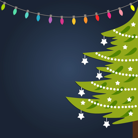 Decorated Christmas tree and lights background. Vector illustration.
