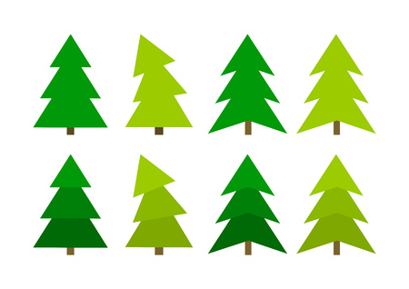 Green Christmas trees spruces icons collection. Vector illustration.