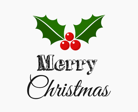 Merry Christmas text with holly symbol greeting card. Vector illustration. Vector Illustration