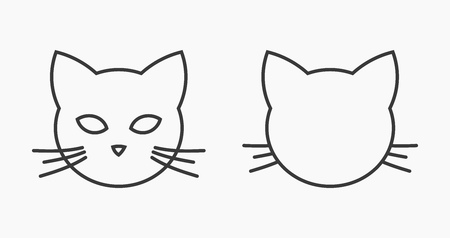 Cat head face line icons. Vector illustration.