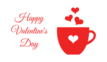 Valentine's Day red coffee or chocolate cup card. Vector illustration card