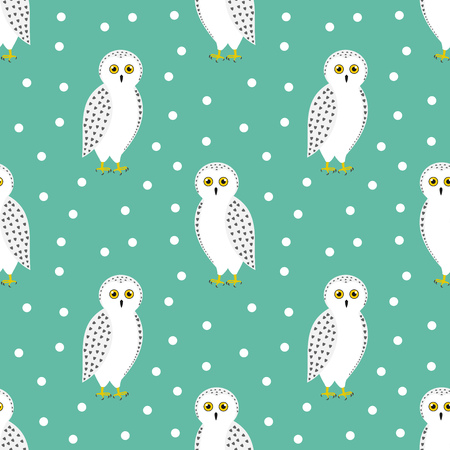 The snowy owl seamless winter pattern. Vector illustration.