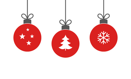 Christmas red balls hanging ornaments on white background. Vector illustration.