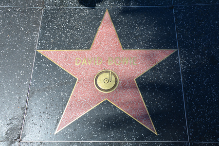 LOS ANGELES, CA, USA - MARCH 27, 2018 : The Hollywood Walk of Fame stars in Los Angeles.David Bowie star.