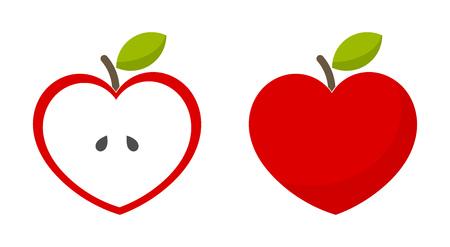 Icone della mela a forma di cuore rosso. Illustrazione vettoriale Vettoriali
