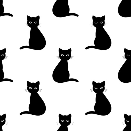 Black cats seamless pattern. Vector illustration