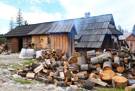 KOSCIELISKO, POLAND - NOVEMBER 12, 2018: Polish mountain hut called Bacowka, shepherd house where the traditional cheese Oscypek is produced.
