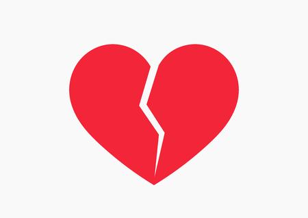Red broken heart icon. Vector illustration Ilustração Vetorial