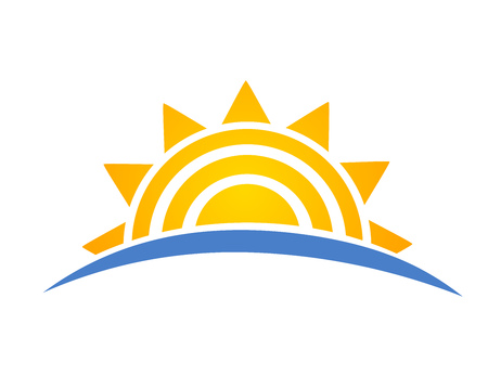 Sun setting over sea icon logo. Vacation travel concept. Vector illustration