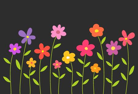 Colorful spring flowers on black background. Vector illustration,
