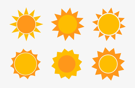 Set of sun icons. Vector illustration.  イラスト・ベクター素材