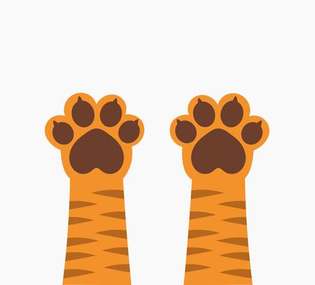 Ginger tiger cat paws up. Vector illustration.