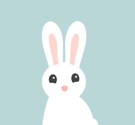 White cute Easter bunny. Vector illustration.