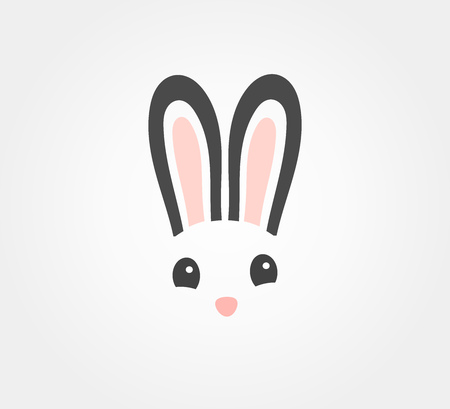 Easter bunny symbolic face icon. Vector illustration.