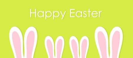 Family of bunnies with long ears. Happy Easter background. Vector illustration. Ilustração