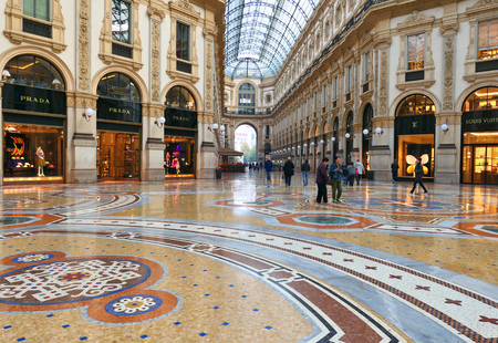 MILAN, ITALY - OCTOBER 21, 2018 : Famous Galleria Vittorio Emanuele II in Milan, one of the oldest shopping mall in the world. Editorial