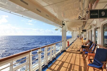 FORT LAUDERDALE, USA - FEBRUARY 17, 2014 : Crown Princess ship sails to Caribbean. View of open deck. Crown Princess is a Grand-class cruise ship owned by Princess Cruises