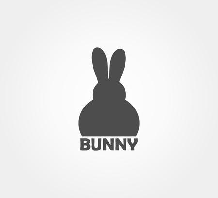 Easter bunny shape logo icon. Vector illustration. Ilustração