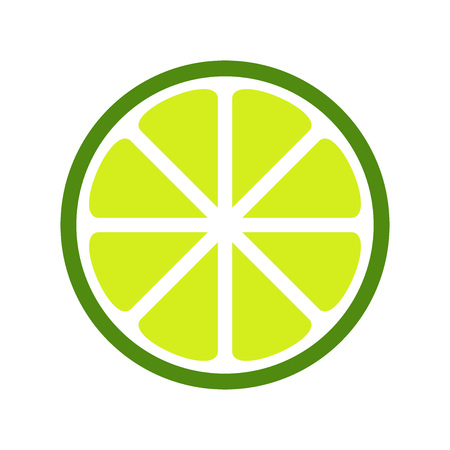 Green lime slice icon. Vector illustration.