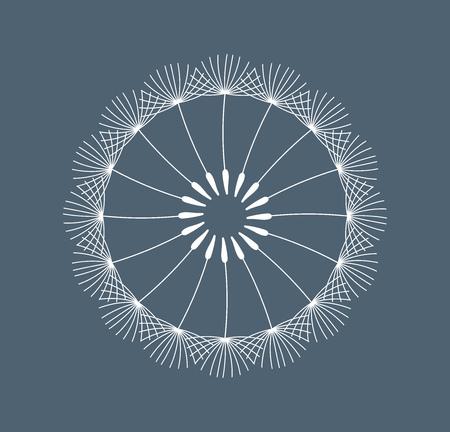 Symbolic white dandelion flower seeds on dark blue background. Vector illustration. Ilustração