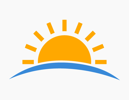 Sun setting over sea icon. Vector illustration.