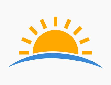 Tramonto sull'icona del mare. Illustrazione vettoriale. Vettoriali