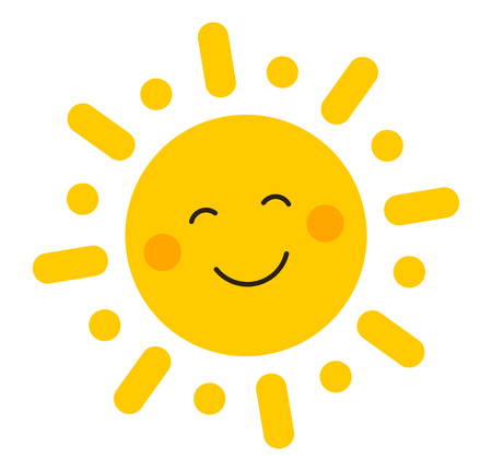 Cute smiling sun icon. Vector illustration