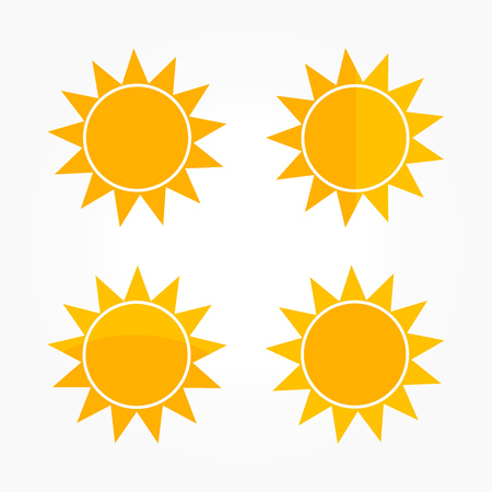 Flat design sun icons. Vector illustration.  イラスト・ベクター素材