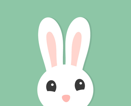 White cute Easter bunny ears and face. Vector illustration. Çizim