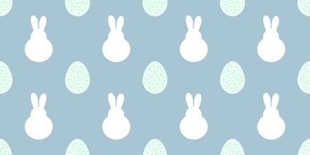 Conejitos de Pascua y huevos sin patrón azul. Ilustración de vector.