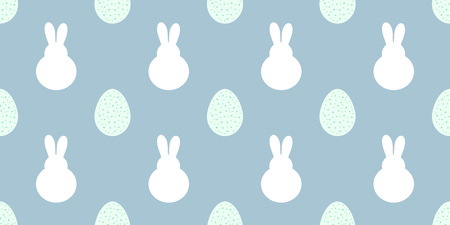 Easter bunnies and eggs samless blue pattern. Vector illustration. Vettoriali