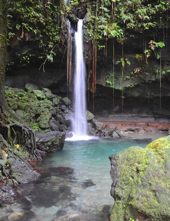 Emerald pool and waterfall in Dominica tropical rainforest.