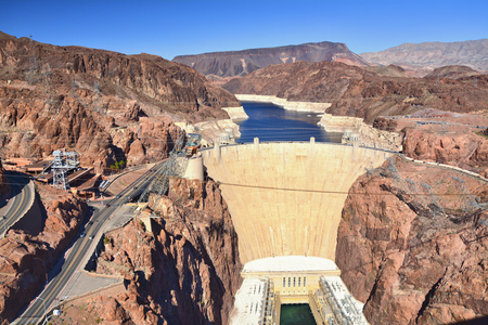 Hoover Dam on the Colorado River. Power station.