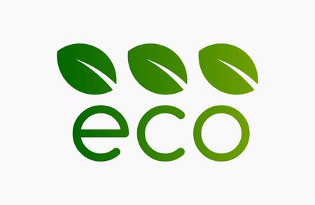 Eco green symbol icon or logo. Three leaves. Vector illustration.