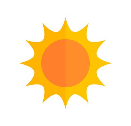 Cute flat design sun icon. Vector illustration.
