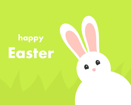White Easter bunny on green background. Happy Easter greeting card. Vector illustration. Çizim