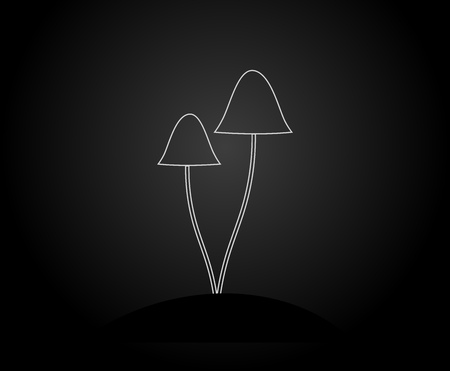 Two mushrooms white outline shape on black background. Vector illustration.