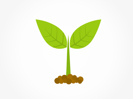 Little green plant germinating from soil icon. Vector illustration.
