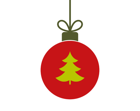 Christmasred  ball ornament icon with Christmas tree . Vector illustration,