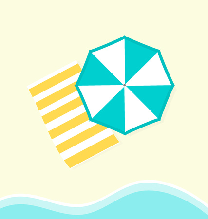 The towel and sun blue umbrella on the beach and sea wave. Vector illustration Ilustração