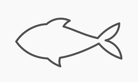 Fish outline shape icon. Vector illustration,