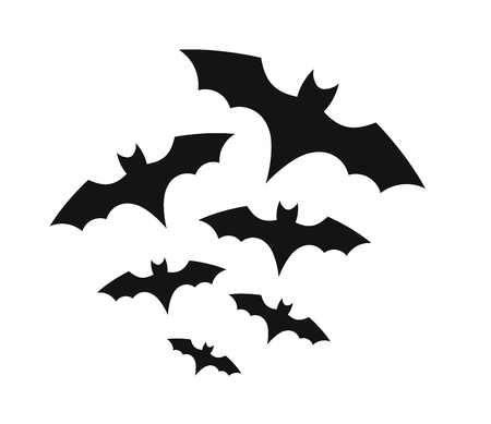 Bats colony on white background.Halloween vector