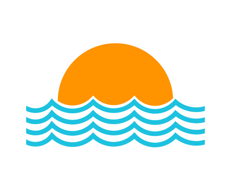 Sun setting and sea waves symbol icon. Vector illustration.